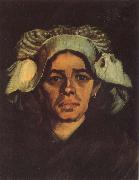 Vincent Van Gogh Head of a Peasant Woman with Whit Cap (nn040 painting