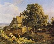 Adrian Ludwig Richter Church at Graupen in Bohemia oil on canvas