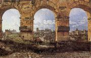 Christoffer Wilhelm Eckersberg View through three northwest arches of the Colossum in Rome,Storm gathering over the city oil painting