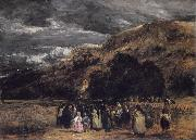 David Cox A Welsh Funeral oil on canvas
