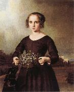 Ferdinand von Rayski Portrait of a Young Girl oil