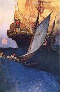Howard Pyle An Attack on a Galleon oil painting reproduction