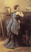 Jean Baptiste Camille  Corot Woman in Blue oil painting reproduction