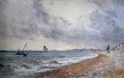 John Constable Hove Beach,withfishing boats painting