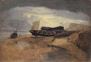 John sell cotman Seashore with Boats oil on canvas