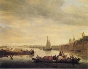 Saloman van Ruysdael The Crossing at Nimwegen oil