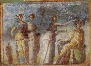 unknow artist Wall painting from Herculaneum showing in highly impres sionistic style the bringing of offerings to Dionysus oil painting reproduction