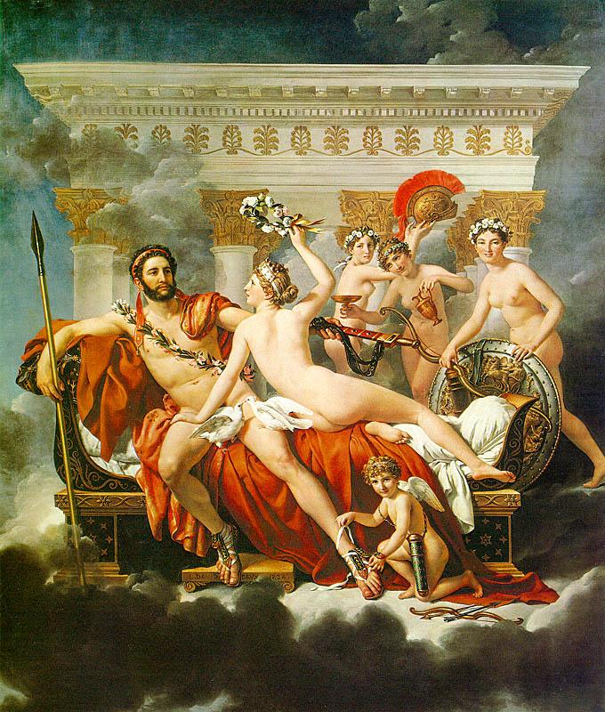 Jacques-Louis  David Mars Disarmed by Venus and the Three Graces china oil painting image