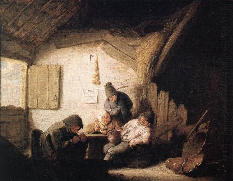 OSTADE, Adriaen Jansz. van Village Tavern with Four Figures sag china oil painting image