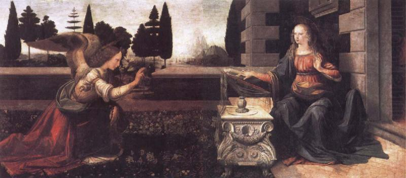 Leonardo  Da Vinci The Annunciation china oil painting image