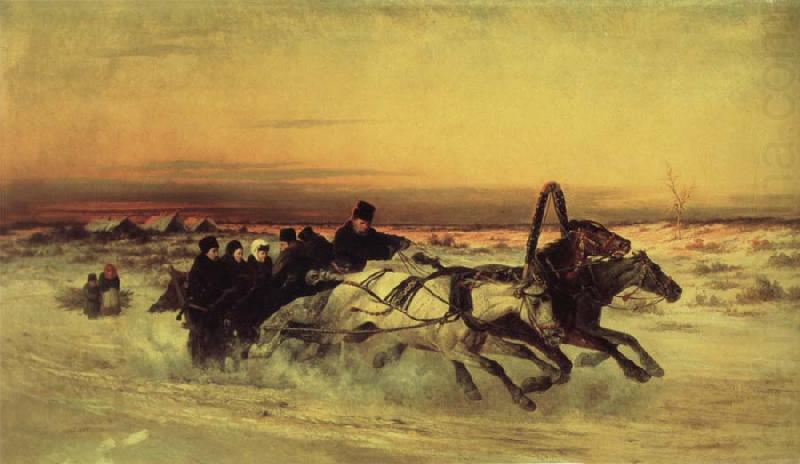 unknow artist Oil undated a Wintertroika in the gallop in sunset china oil painting image