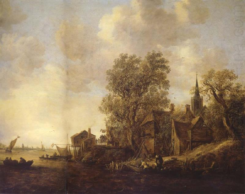 REMBRANDT Harmenszoon van Rijn View of a Town on a River china oil painting image