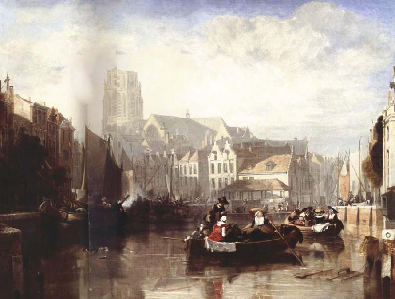 Sir Augustus Wall Callcott View of the Grote Kerk,Rotterdam,with Figures and Boats in the Foreground china oil painting image