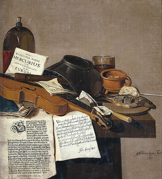 Anthonie Leemans Still life with a copy of De Waere Mercurius, a broadsheet with the news of Tromp's victory over three English ships on 28 June 1639, and a poem telli china oil painting image