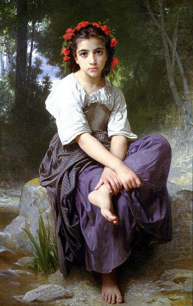 William-Adolphe Bouguereau At the Edge of the Brook china oil painting image