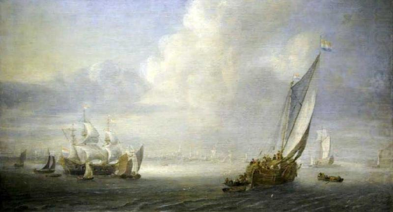 Abraham van der Hecken Seascape with a port in the background china oil painting image