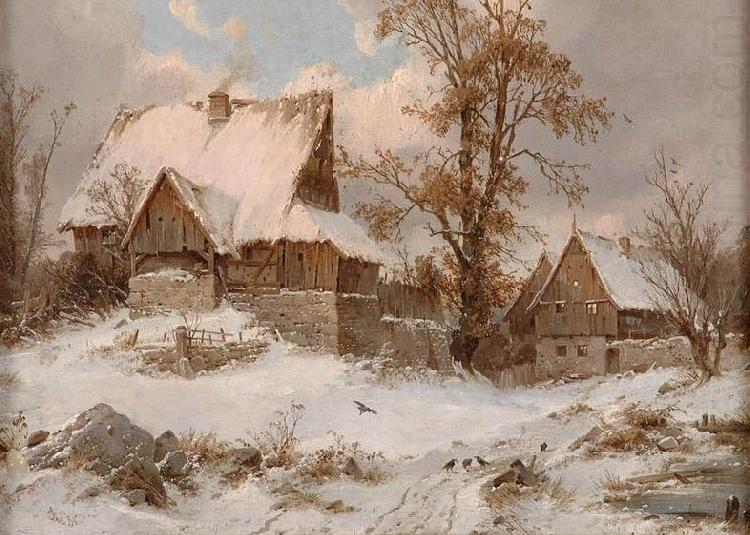 Karl Julius von Leypold Dorfansicht im Winter china oil painting image