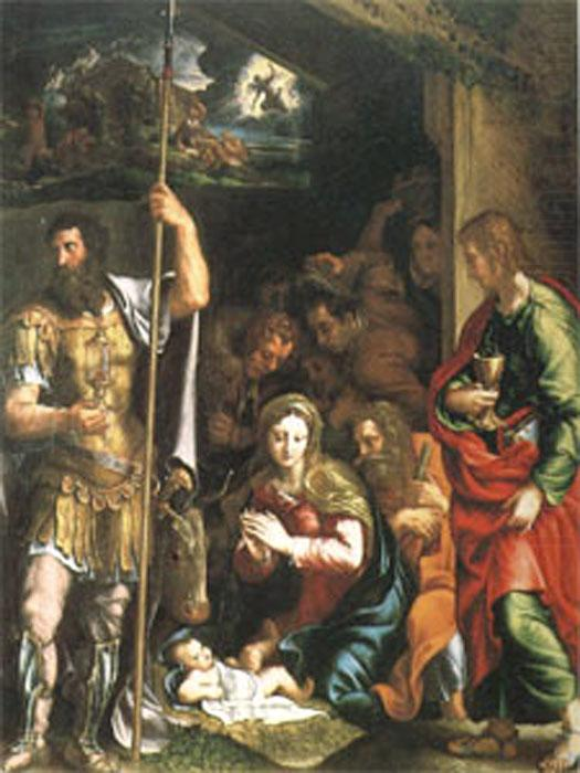 Giulio Romano The Nativity and Adoration of the Shepherds in the Distance the Annunciation to the Shepherds (mk05) china oil painting image