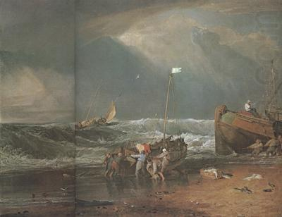 Joseph Mallord William Turner A coast scene with fisherman hauling a boat ashore (mk31) china oil painting image