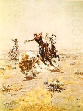 O.H.Cowboys Roping a Steer, Charles M Russell