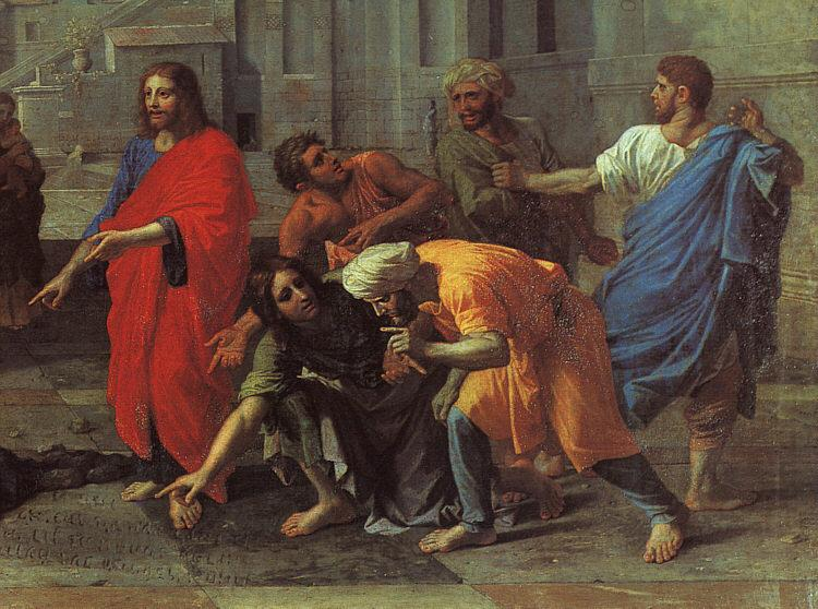 Nicolas Poussin Christ and the Woman Taken in Adultery Detail