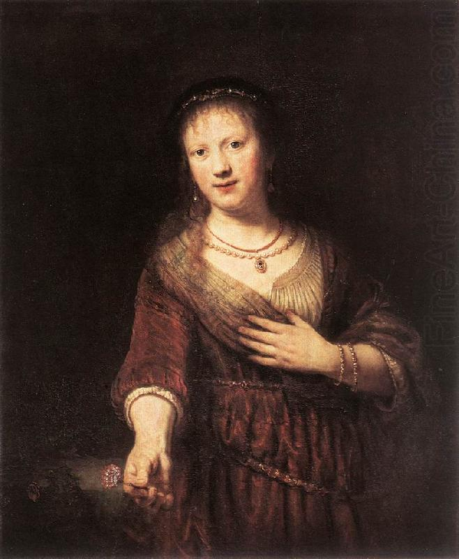 REMBRANDT Harmenszoon van Rijn Portrait of Saskia with a Flower