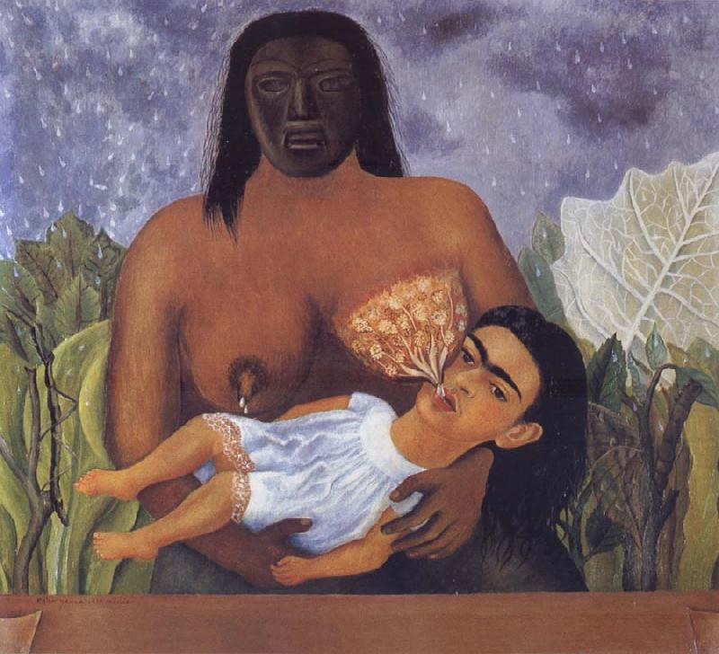 Kahlo painted herself in my Nurse and i in the arms of an Indian wetnurse, Frida Kahlo