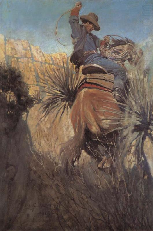 I Saw His Horse Jump Back Dodgin-a Rattlesnake or Somethin, NC Wyeth