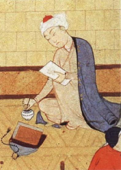 Qays,the future Majnun,begins as a scribe to write his poem in honor of the theophany through Layli, unknow artist