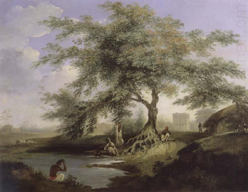 Natives Drawing Water Form A Pond With Warren Hastings