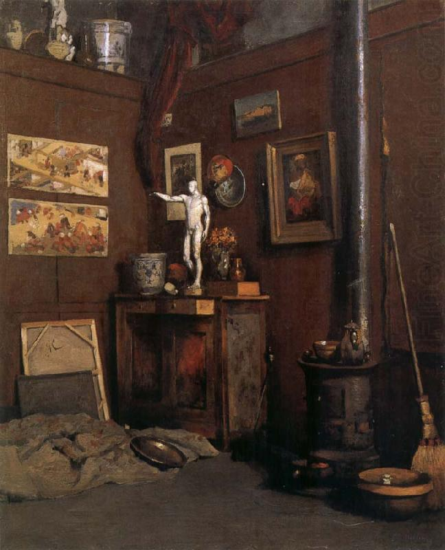 The Studio having fireplace, Gustave Caillebotte