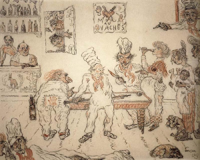 Waiters and Cooks Playing Billiards,Emma Lambotte at the Billiard Table, James Ensor