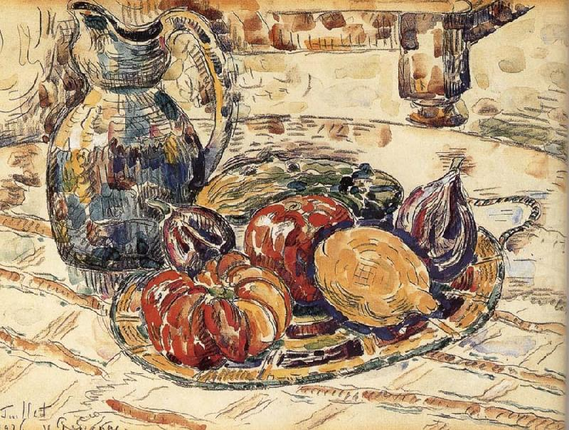The still life having fruit, Paul Signac