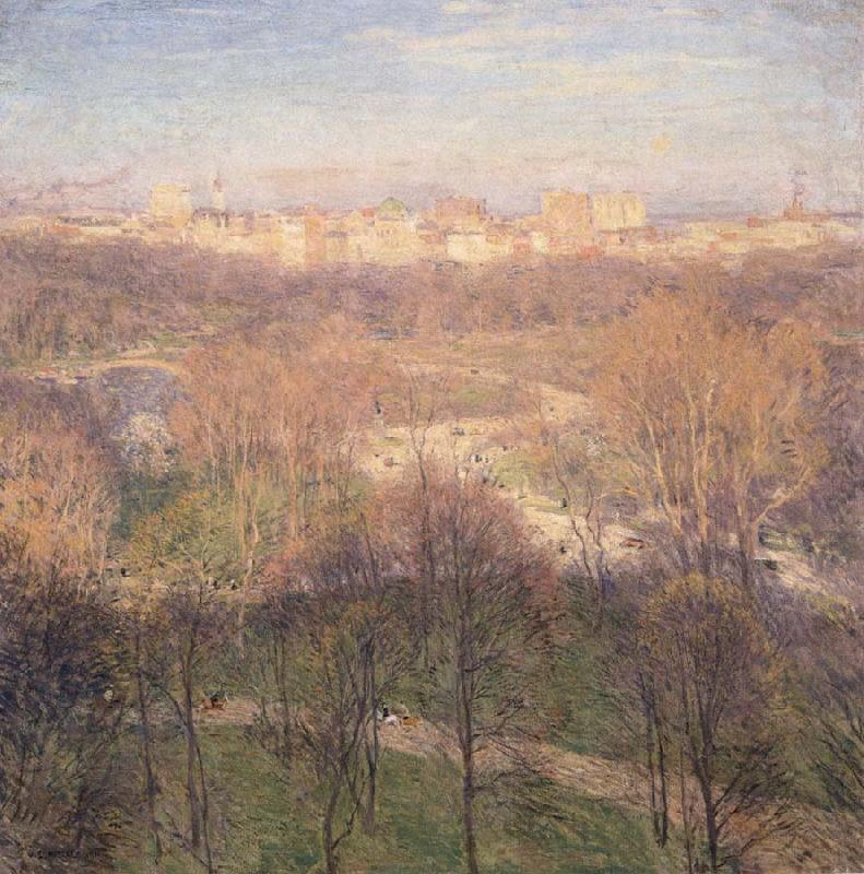 Early Spring Afternoon,Central Park, Metcalf, Willard Leroy