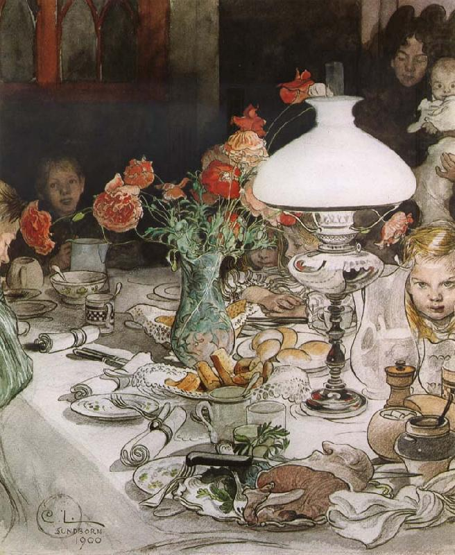 Around the Lamp at Evening, Carl Larsson