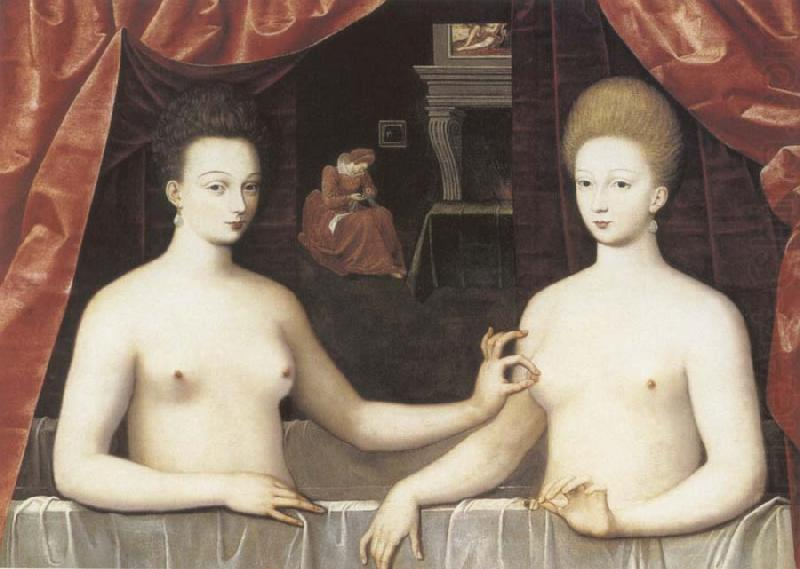 Gabrielle d-Estree and the Duchesse de Villars, School of Fontainebleau