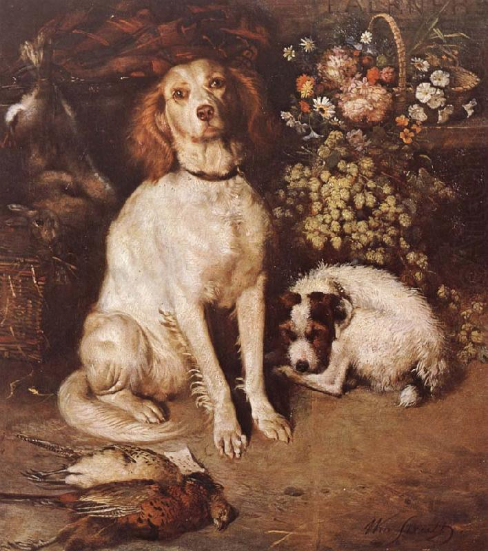Dogs with Flowers and game, William Strutt