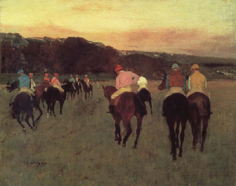 Race horses in Longchamp, Edgar Degas
