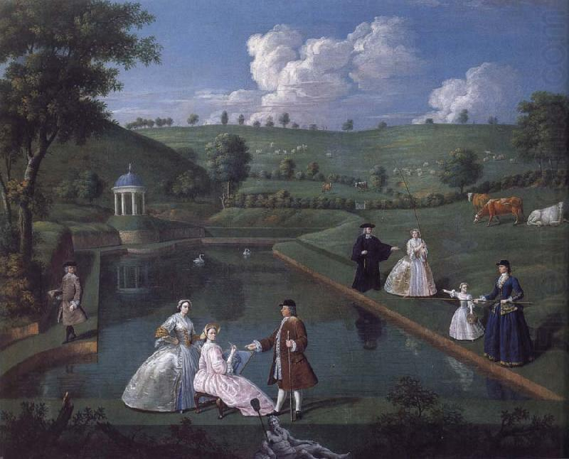 Edward Haytley The Brockman Family and Friends at Beachborough Manor the Temple Pond looking towards the Rotunda