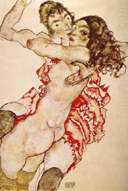 Two Girls Embracing Each other, Egon Schiele