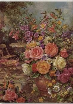 Floral, beautiful classical still life of flowers.081, unknow artist