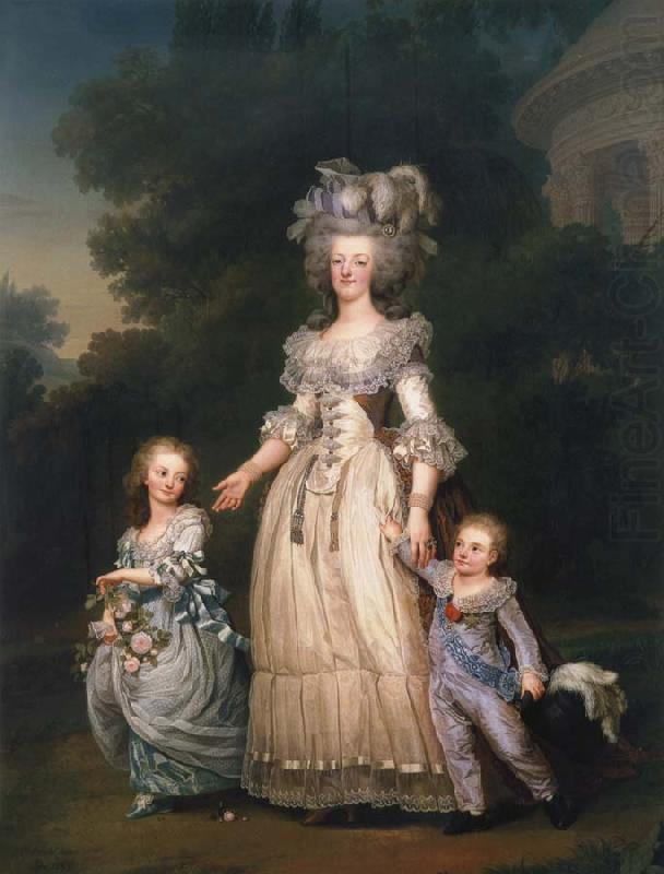 Queen Mary Antoinette with sina tva baby in Triangle park, Adolf-Ulrik Wertmuller