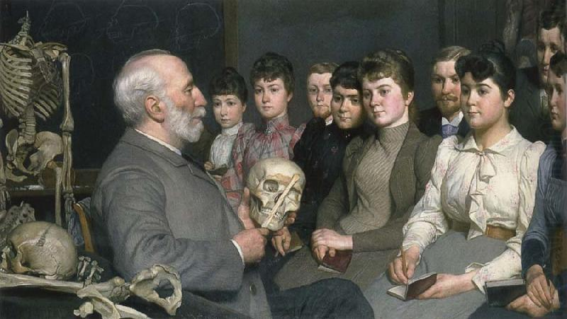 Professor Curman am teaching akademielever in anatomy, unknow artist