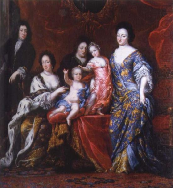 unknow artist David Clock Ehrenstrahl Grupportratt of Fellow XI with family