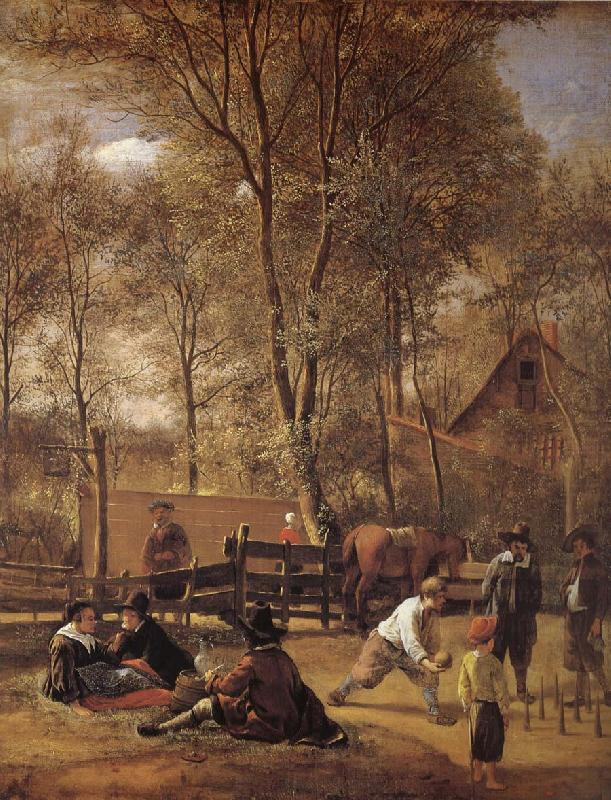Kagelspelarna outside a vardshus, Jan Steen