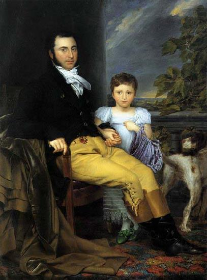 Portrait of a Prominent Gentleman with his Daughter and Hunting Dog, Joseph Denis Odevaere