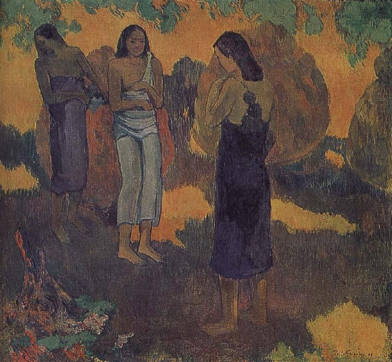 Yellow background, three women, Paul Gauguin