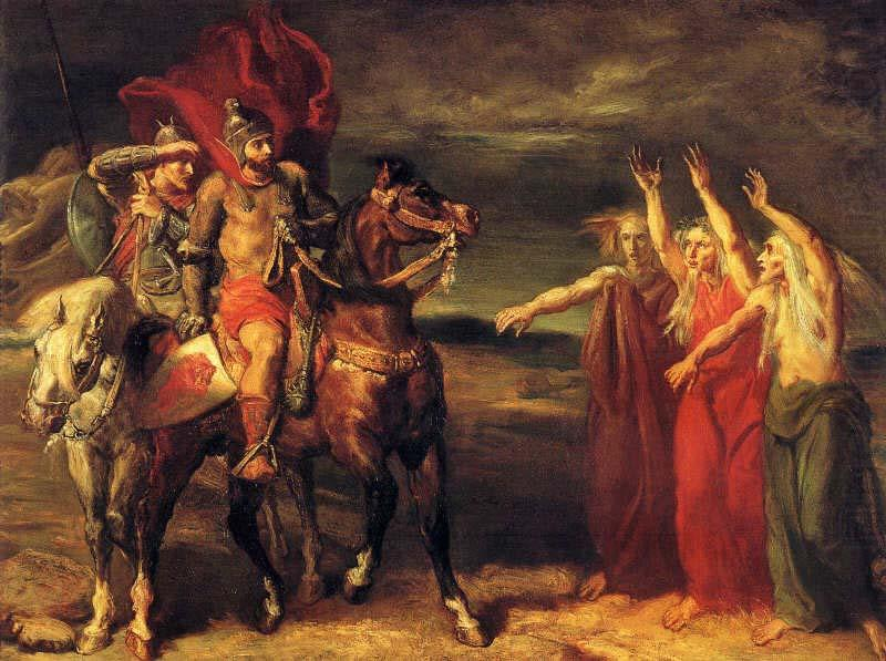 Macbeth and Banquo meeting the witches on the heath., Theodore Chasseriau