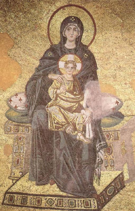 On the throne of the Virgin Mary with Child, unknow artist