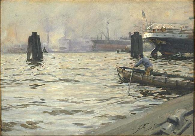 The Port of Hamburg,, Anders Zorn